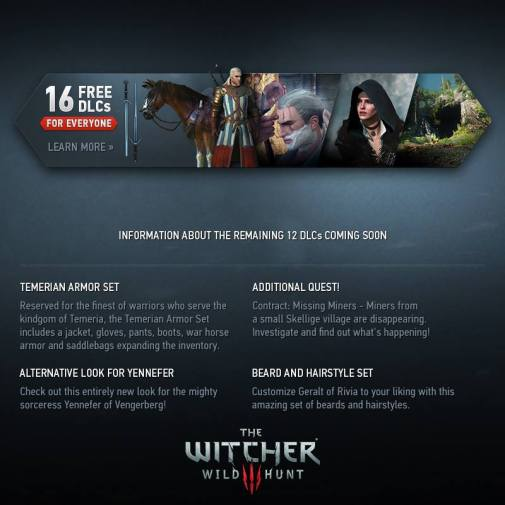 The Witcher 3: The Wild Hunt 16 free DLC